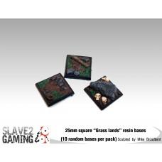 """25mm Resin """"Grasslands"""" square bases (10 pack)"""