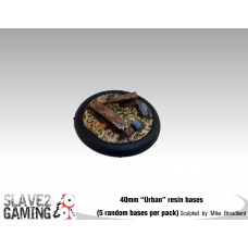 """40mm Resin """"Urban""""  round nose bases (5 pack)"""